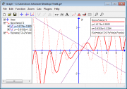 Screen shot showing a function, its first derivative, a tangent and a normal.