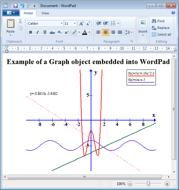 Features graph interact with other programs example of graph object embedded into a wordpad document ccuart Images